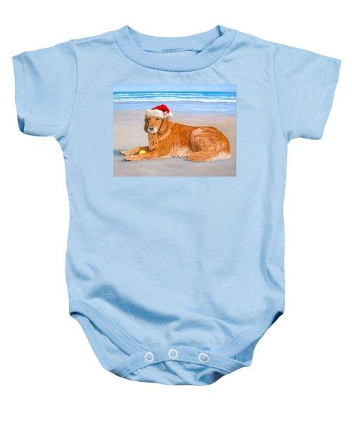 Golden Retreiver Holiday Card Baby Onesie