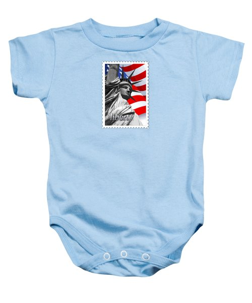 Graphic Statue Of Liberty With American Flag Text Liberty Baby Onesie by Elaine Plesser