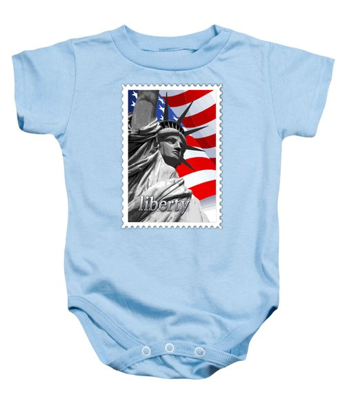Graphic Statue Of Liberty With American Flag Text Liberty Baby Onesie