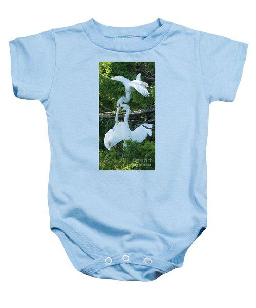 Great Egrets Horsing Around Baby Onesie