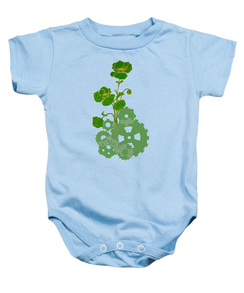 Green Mechanical Flowers Baby Onesie