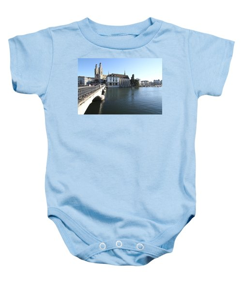Grossmunster, Wasserkirche And Munsterbrucke - Zurich Baby Onesie