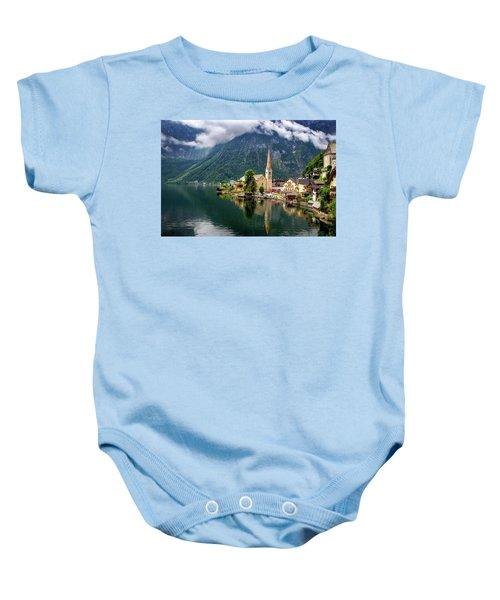 Hallstatt Across The Lake, Austria  Baby Onesie