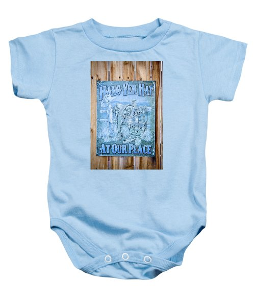 Hang Yer Hat At Our Place Baby Onesie