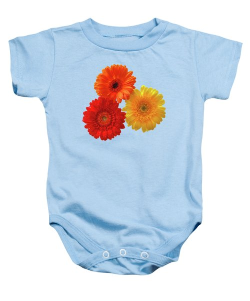 Happiness Orange Red And Yellow Gerbera On Blue Baby Onesie