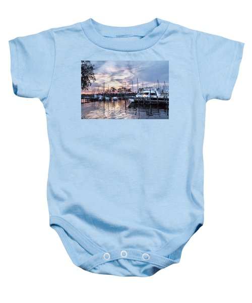 Happy Hour Sunset At Bluewater Bay Marina, Florida Baby Onesie