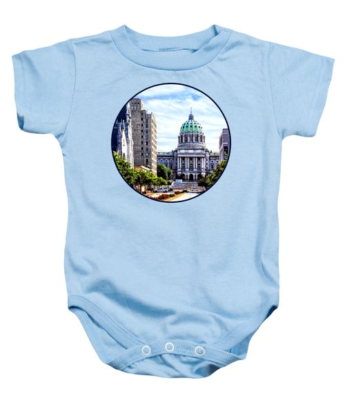 Harrisburg Pa - Capitol Building Seen From State Street Baby Onesie by Susan Savad