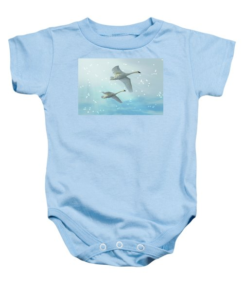 Heavenly Swan Flight Baby Onesie