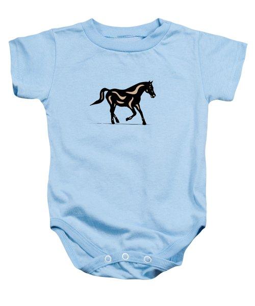 Heinrich - Pop Art Horse - Black, Hazelnut, Island Paradise Blue Baby Onesie