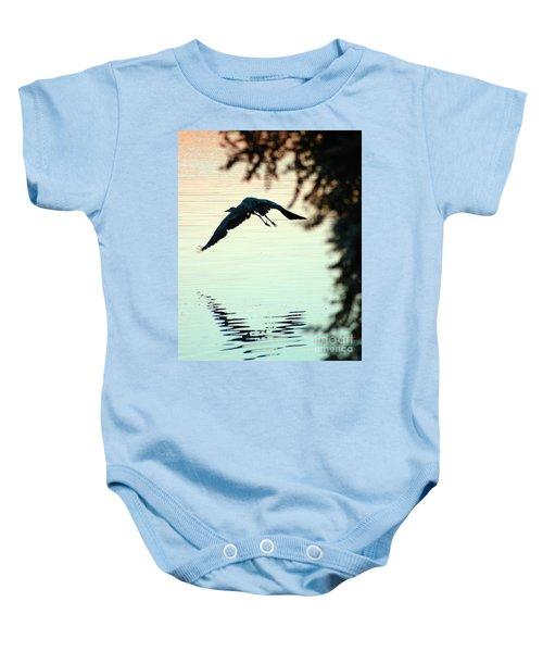 Heron At Dusk Baby Onesie