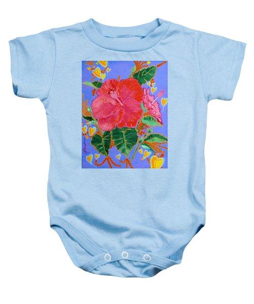 Hibiscus Motif Baby Onesie