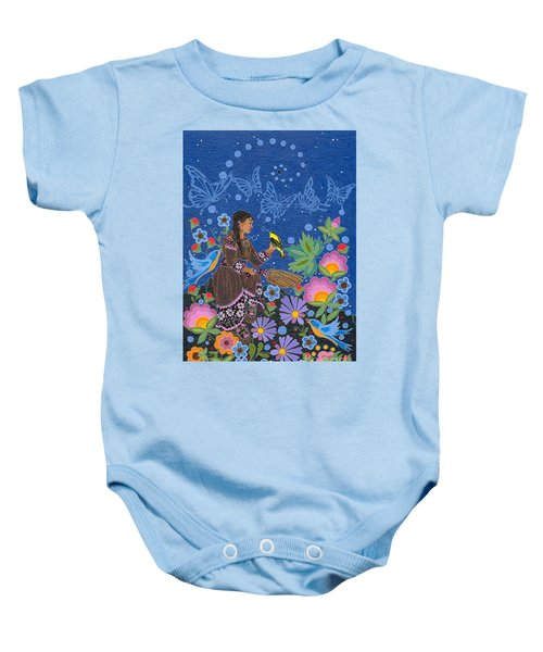 Baby Onesie featuring the painting Hole In The Sky's Daughter by Chholing Taha
