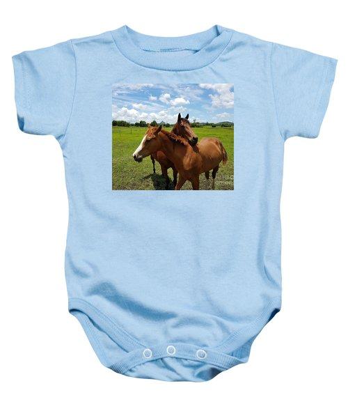 Horse Cuddles Baby Onesie