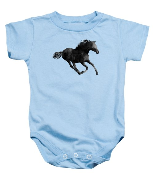 Horse Running In Black And White Baby Onesie