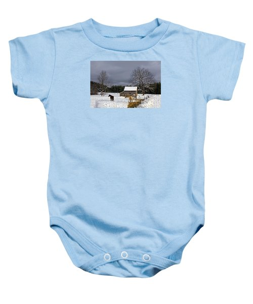 Horses In Snow Baby Onesie
