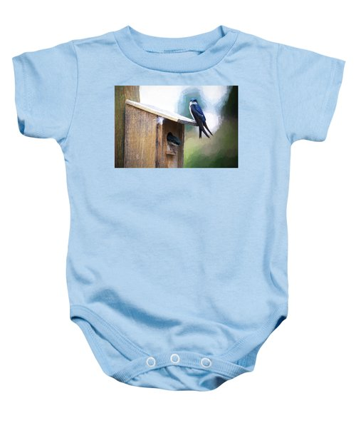 Baby Onesie featuring the photograph House Of Bluebirds by James BO Insogna