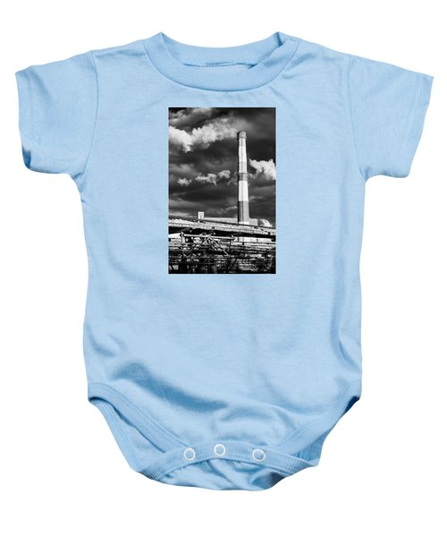 Huge Industrial Chimney And Smoke In Black And White Baby Onesie