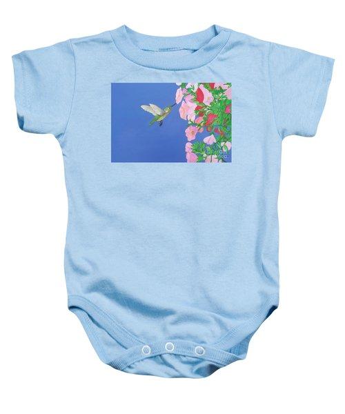 Hummingbird And Petunias Baby Onesie