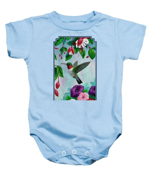 Hummingbird Greeting Card 1 Baby Onesie by Crista Forest
