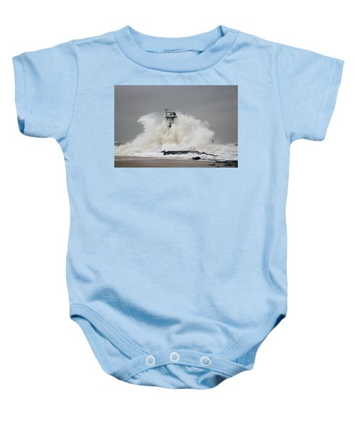 Hurricane Jose Wave At The Inlet Jetty Baby Onesie