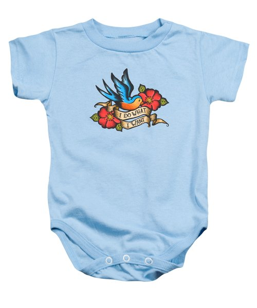 I Do What I Want Vintage Bluebird And Rose Tattoo Baby Onesie by Little Bunny Sunshine