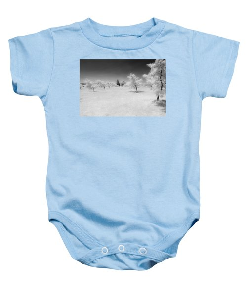 Infrared Peach Orchard Baby Onesie