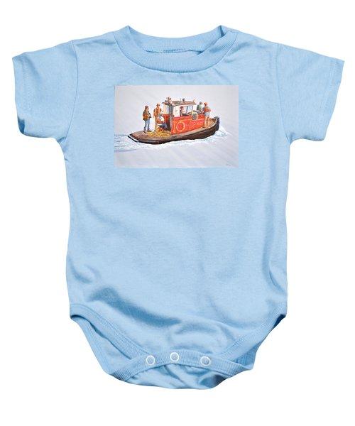 Into The Mist-the Crew Boat Baby Onesie