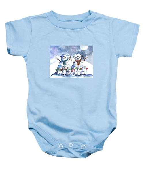 It's Snowing Cats And Dogs And Mice Too Baby Onesie by Shelley Wallace Ylst