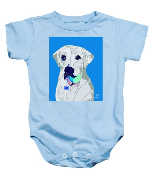 Jax With Ball In Blue Baby Onesie