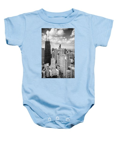 John Hancock Building In The Gold Coast Black And White Baby Onesie by Adam Romanowicz