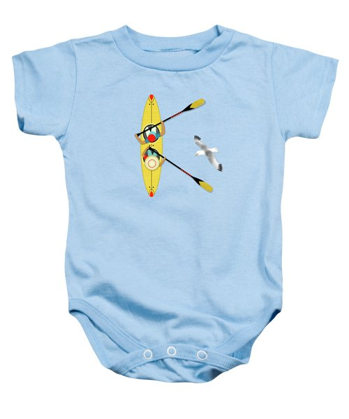 K Is For Kayak And Kittiwake Baby Onesie by Valerie Drake Lesiak