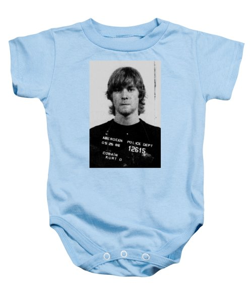 Kurt Cobain Mug Shot Vertical Black And Gray Grey Baby Onesie