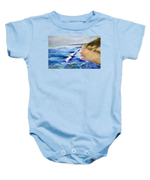 Lake Michigan Beach With Whitecaps Baby Onesie