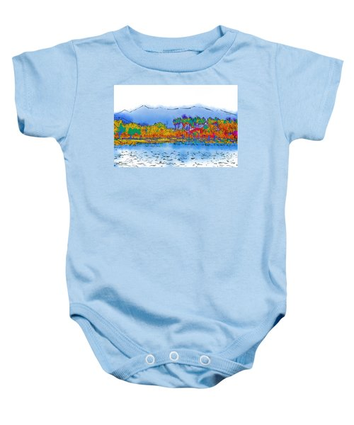 Lake, Palms And Mountains In Subtle Abstract Baby Onesie