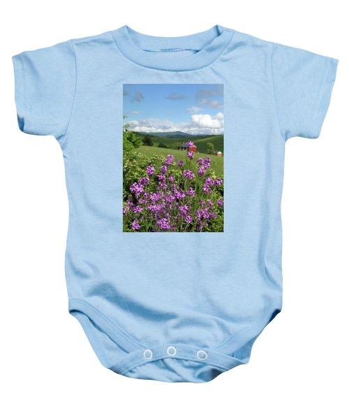 Landscape With Purple Flowers Baby Onesie