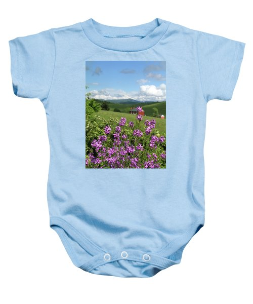 Landscape With Purple Flowers Baby Onesie