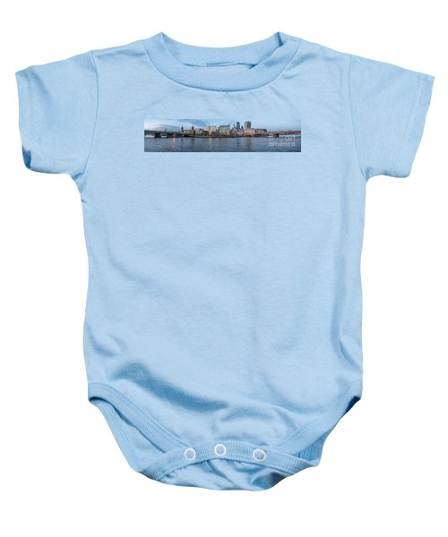 Large Panorama Of Downtown London Betwen The London Bridge And T Baby Onesie