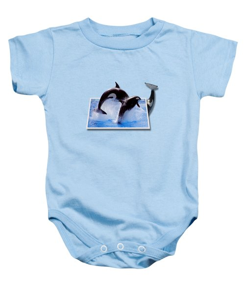 Leaping Orcas Baby Onesie by Roger Wedegis