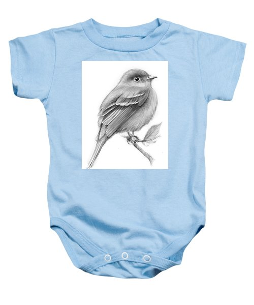 Least Flycatcher Baby Onesie by Greg Joens