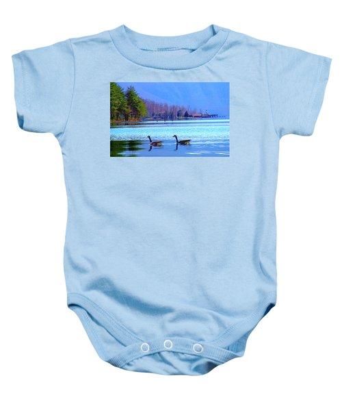 Lighthouse Geese, Smith Mountain Lake Baby Onesie