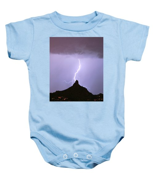 Lightning Striking Pinnacle Peak Scottsdale Az Baby Onesie