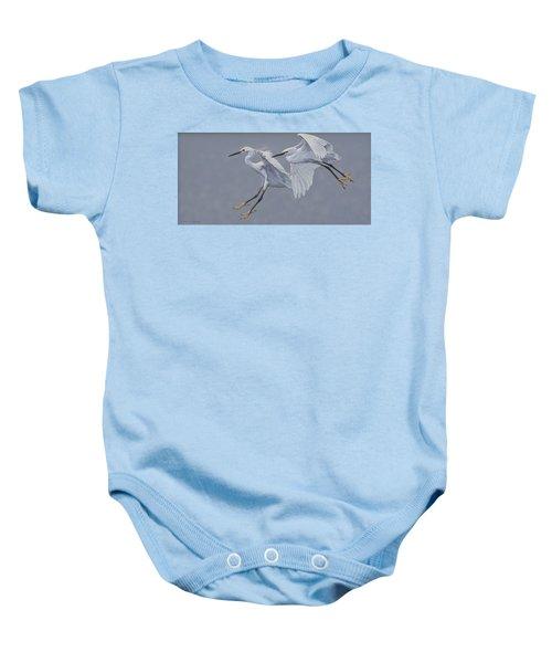 Little Egrets In Flight Baby Onesie