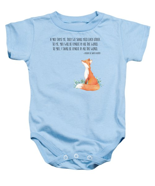 Little Prince Fox Quote, Text Art Baby Onesie