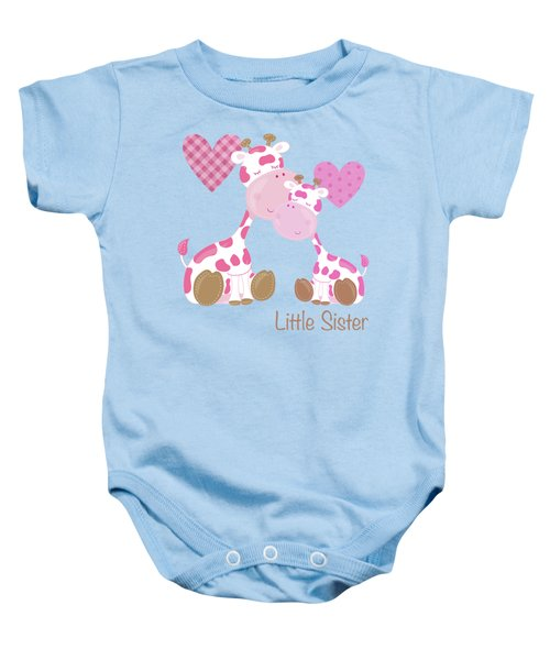 Little Sister Cute Baby Giraffes And Hearts Baby Onesie by Tina Lavoie
