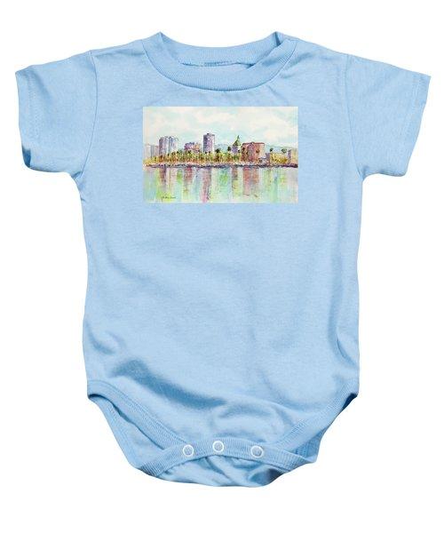 Long Beach Coastline Reflections Baby Onesie