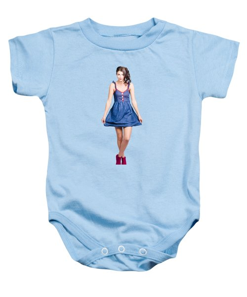 Lovable Eighties Female Pin-up In Denim Dress Baby Onesie