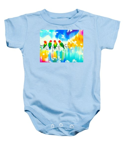 Lovebirds On A Branch Baby Onesie by Cathy Jacobs