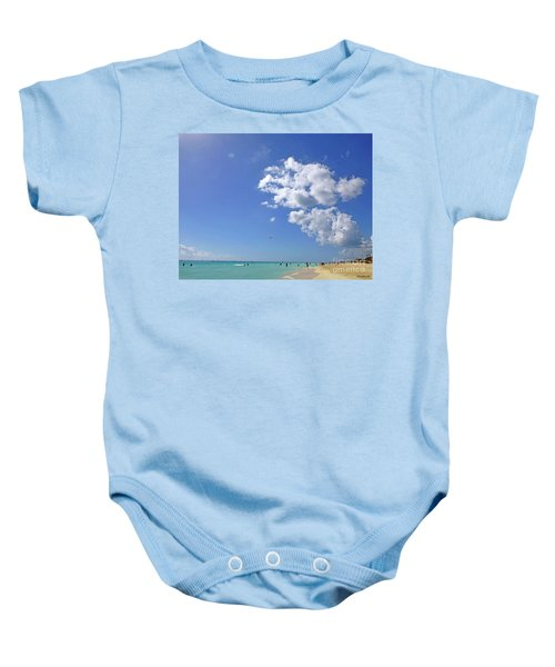 Baby Onesie featuring the digital art M Day At The Beach 2 by Francesca Mackenney