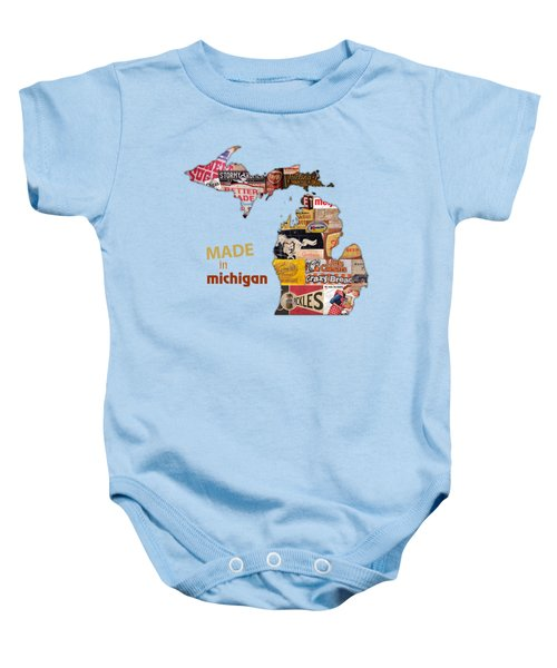 Made In Michigan Products Vintage Map On Wood Baby Onesie by Design Turnpike