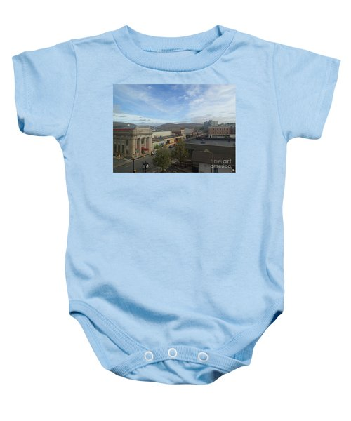 Main St To The Mountains   Baby Onesie